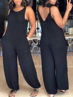 Details & Care Fabric: Cotton Blend Style: Casual Tied Shoulder / Sleeveless / Regular Fit x Jumpsuit(with 2 straps tie on shoulder) Size US Bust Waist Hip Length (IN) M 37 L 12 XL 14 37 16 18 Tips Pleas Casual Skirt Outfits, Classy Outfits, Chic Outfits, Pretty Outfits, Fashion Outfits, Ladies Dress Design, Look Fashion, Lounge Wear, Plus Size Fashion