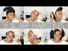 6 Scarf Hairstyles | How To Accessorise Natural Hair || hair accessories.