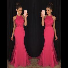 Halter Blush Pink Mermaid Evening Prom Dresses, 2017 Long Party Prom Dress, Custom Long Prom Dresses, Cheap Formal Prom Dresses, 17063 - Thumbnail 1