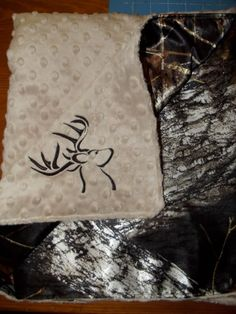 Minky Blanket..Tan Minky Dot with Mossy Oak Satin.. Customize your own.. Deer head embroidery on Etsy, $51.00