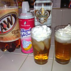 yummy for summer time....    Sweet concoction: root beer, whipped cream, Smirnoff fluffed marshmallow vodka  @sera_h