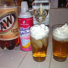 Sweet concoction: root beer, whipped cream, Smirnoff fluffed marshmallow vodka  @Sera