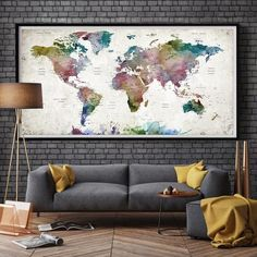 LARGE Watercolor Map World Push Pin Travel Cities Wall Black & White G | Fine Art Center