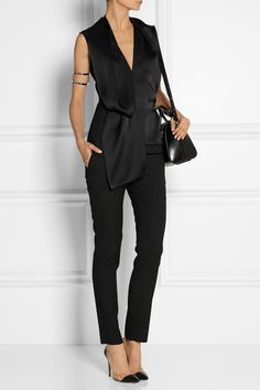 MAISON MARTIN MARGIELA Wool-blend twill and crepe de chine top £490.00 http://www.net-a-porter.com/products/495516