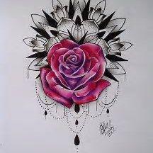 Mandala Rose Tattoo  #mandala #tattoo Tattoo Pierna, Chain Tattoo, Mandala Rose, Mandalas Drawing, Lemon Bars, Picture Tattoos, Tattoo Drawings, Ink, Pretty