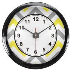 Yellow, Dk Gray Wht Large Chevron ZigZag Pattern Aqua Clock