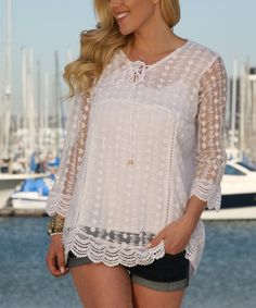 Another great find on #zulily! White Lace Scallop-Hem Tunic - Plus #zulilyfinds