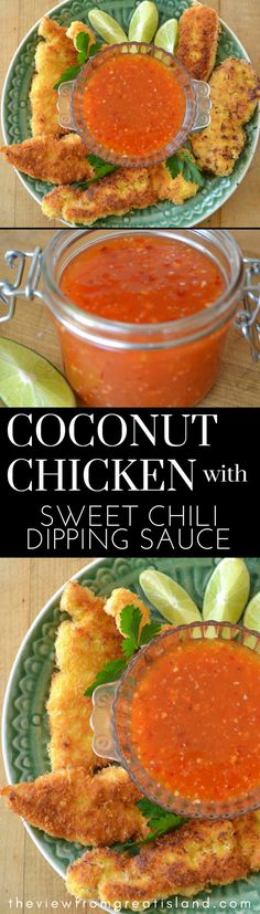 Coconut Chicken with Sweet Chili Dipping Sauce ~ this 30-minute family meal is guaranteed to be a huge success. Serve it as an appetizer, too! #DINNER #CHICKEN #FRIEDCHICKEN #THAICHICKEN #CHICKENTENDERS #CHICKENFINGERS #30MINUTEMEAL #FAMILYMEAL #APPETIZER #SWEETCHILISAUCE #MAINCOURSE