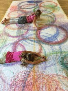 Human spirographs, Action art for kids
