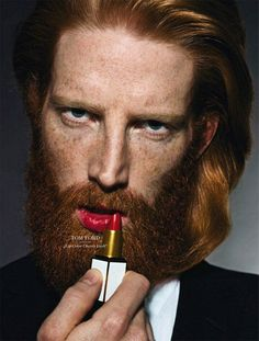 Tom Ford. Lol! Must be how a guy feels when his Lady kisses him with lipstick on