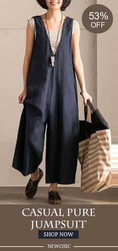 Casual Pure Color Sleeveless Jumpsuits For Women #fashion #jumpsuit #spring