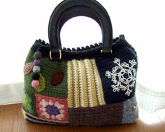 crochet patchwork purse by M's Handmade Life http://handmade12.blog86.fc2.com/category14-7.html