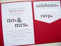 Pocketfold Wedding Invitations  Mr&Mrs by LittleSparkCreations, $148.75