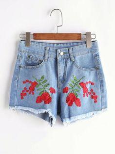 Rose Print Denim Jean Shorts. Waist(Cm): S:68cm, M:72cm, L:76cm, XL:80cm Size Available: S,M,L,XL Thigh(Cm): S:54cm, M:56cm, L:58cm, XL:60cm Hip Size(Cm): S:86cm, M:90cm, L:94cm, XL:98cm Waist Type: M