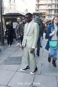 51e94b42cb6b London Collections Men street style, freshen up a classic suit combination  with a pair of