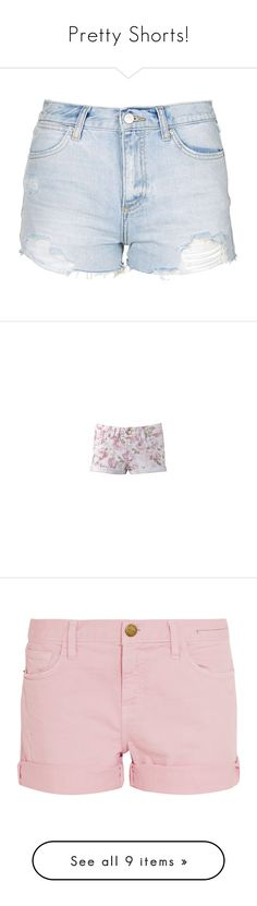 """""""Pretty Shorts!"""" by godfidence on Polyvore featuring shorts, bottoms, pants, short, bleached shorts, destroyed shorts, denim short shorts, topshop shorts, bleached denim shorts and floral print shorts"""
