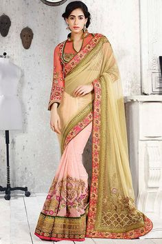 Pink and Beige Heavy Bridal Saree