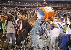 Coach Garrett getting a Gatorade bath after beating the Colts #DallasCowboys #INDvsDAL