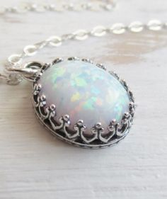 Opal Necklace, White Opal Pendant Necklace, Sterling Silver Pendant, Oval Opal Necklace, Opal Jewelry, October Birthstone Jewelry