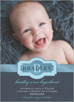Metallic Chic Boy Birth Announcement