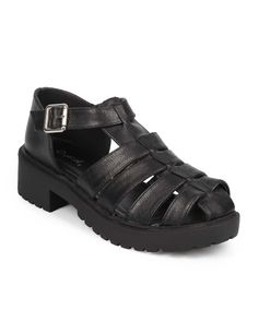 "Qupid DB49 Women Leatherette Ankle Strap Platform Chunky Heel Fisherman Sandal - Black (Size: 8.5). Measurement (tested sz 6; approx.): Heel: 1.75"". Sole / Padding: Synthetic non-skid sole / cushioned foot bed with padded insole. Closure: Adjustable buckle. Fit: True to size. Condition: Brand new with original or Alrisco shoe box."