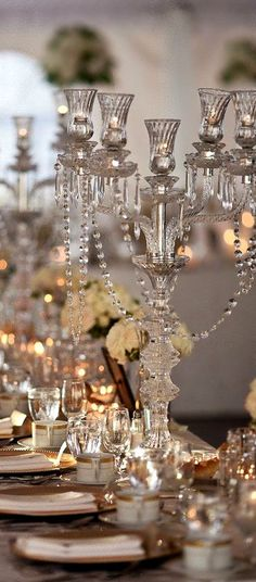 Beautiful centerpieces in champagne and crystal