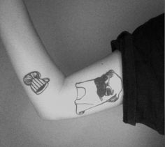 pug love tattoo via Tattoologist