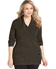 Debbie Morgan Plus Size Sweater, Long-Sleeve Shawl Collar - Plus Size Sweaters - Plus Sizes - Macy's