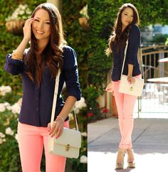 Coral jeans with navy top