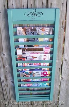 shutter turned magazine holder- would love this now that I've added vintage window frames!                                                                                                                                                     More