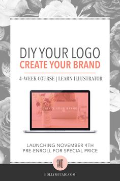 DIY Your Logo - with Adobe Illustrator! I'll teach you! What if you could design your own logo and branding and get the expertise of a brand designer to make sure you're doing it effectively? You'd save a ton of money, and headaches, right? Enroll in my new course, Create Your Brand and learn Adobe Illustrator at the same time! Special pre-enrollment price won't last long…