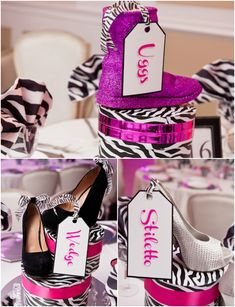 Shoe Theme Bat Mitzvah Party Centerpieces by Ira Casel Photography - mazelmoments.com