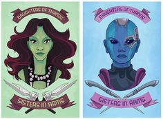 """""""I saw Guardians of the Galaxy and even though I really, really liked it, I kinda want more alien assassin sisters,"""" said illustrator Clare DeZutti on her Tumblr"""