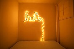 Wouldn't you want to have this on your living room wall? Hello christmas lights by colormekatie, via Flickr