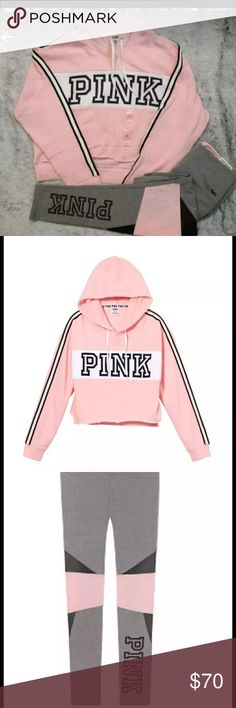 VS PINK Crop Hoodie/Legging Set NIP. Victoria's Secret PINK cropped raw hem pullover hoodie, SIZE MEDIUM and high waisted cotton/mesh color block leggings, SIZE MEDIUM. The hoodie is COLOR CANDY && the leggings are COLOR GREY/CANDY.  Additional questions please ask and please check out my other items. I offer discounts on bundles. Thank you and Happy Poshing! Victoria's Secret PINK Tops Crop Tops