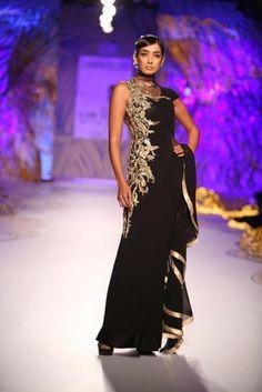 dcw 13 gaurav gupta black gold lace gown