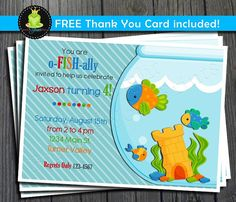 Fish Birthday Invitation  Little Fish Party by ForeverYourPrints
