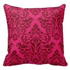 Shop Damask - magenta claret throw pillow created by CherylDanielsart. Designer Throw Pillows, Custom Pillows, Art Studios, Knitted Fabric, Damask, Magenta, Your Design, Knitting, Stylish