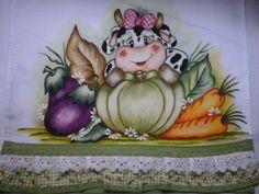Pano de prato vaquinha c/ legumes | Nuza Artes | Elo7