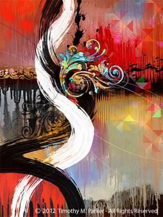 """Abstract Painting, Contemporary Art, """"Black or White"""" Artist Tim Parker - Art2D Gallery, Modern Art Original Paintings and Fine Art Prints"""