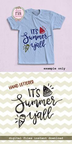 It's summer y'all, cute fun hand lettered watermelon ice cream digital cut files, SVG, DXF, studio3 for cricut, silhouette cameo, diy decals by LoveRiaCharlotte on Etsy