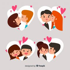 Valentine's day kissing couple collection. Download for free at freepik.com! #Freepik #freevector #heart #interntationalkissingday Valentines Day Cartoons, Happy Valentines Day, Graphic Design Templates, Modern Graphic Design, International Kissing Day, Cute Couples Kissing, Love Silhouette, Pride Day, Avatar Characters