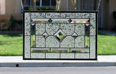 DIAMONDS - Clear Stained Glass Window Panel with Faceted Bevels