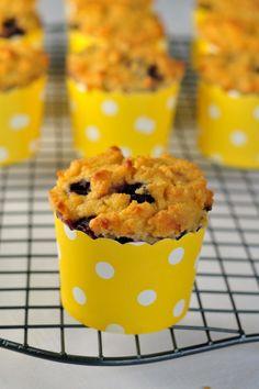 Paleo Blueberry Lemon Muffins |www.flavourandsavour.com Grain-Free, moist and tender