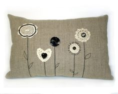 Linen and Lace Flower Cushion with buttons