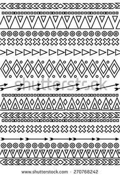 Vector de stock (libre de regalías) sobre Tribal Hand Drawn Line Geometric Black and white sketch of American Indian Mayan Aztec ethnic background . It can be used for wallpaper, pattern fills, web page background, surface textures Indian Patterns, Tribal Patterns, Doodle Patterns, American Indian Art, American Indians, Bullet Journal Dividers, Graph Paper Art, Black And White Sketches, 1 Tattoo