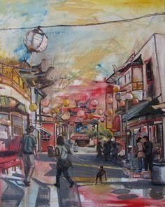 Abstract landscape painting: 'Chinatown', by Kim Ford Kitz. kimfordkitz.com