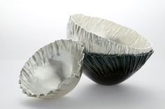 Lone Lovschal, Pleated bowls, silver  photo: Camilla Hey