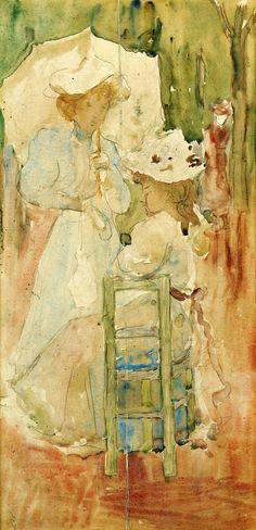c1893-94 Two Women in a Park pencil & watercolour 40 x 20.3 cm
