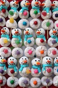 Powdered donut snowman kabobs